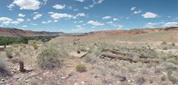 A panorama of the fallen screen tower. - , Utah