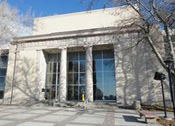 """The exterior of the Pioneer Memorial Theatre was intended to be """"pleasantly reminiscent of the Salt Lake Theater."""" - , Utah"""