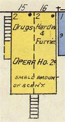 "In 1910, an opera house with a ""small amount of scenery"" occupied the second floor of a building at about 130 South Broadway.  The first floor was split between a drug and furniture stores. - , Utah"