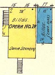 The opera house on a 1917 Sanborn map. - , Utah