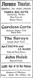 An advertisement for the Florence Theater, formerly the Dewey Theater, in 1910. - , Utah