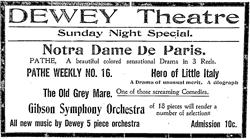 A newspaper advertisement for the Dewey Theatre in 1913. - , Utah