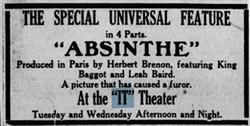 """Advertisement for """"Absinthe"""" at the """"IT"""" Theater. - , Utah"""