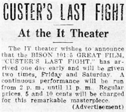 'Custer's Last Fight' at the It Theater in 1912. - , Utah