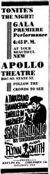 """Tonite's the night! Gala Premiere Performance 6:45 P. M. At your beautiful new Apollo Theatre."" - , Utah"