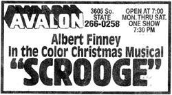 """""""Albert Finney in the color Christmas Musical 'Scrooge'."""" - , Utah"""