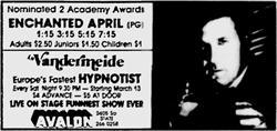 "First advertisement for Vandermeide, ""Europe's Fastest Hypnotist,"" at the Avalon. - , Utah"