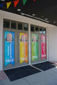 The four doors of the main entrance, decorated for the Shakespeare Festival in 2012. - , Utah
