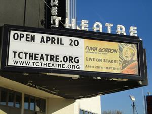 <em>Flash Gordon</em> on the marquee on on opening night of the Childrens Theatre, 20 April 2012. - , Utah