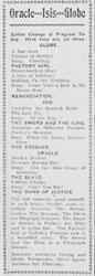 Possibly the first newspaper advertisement for the Oracle, Isis, and Globe theaters. - , Utah