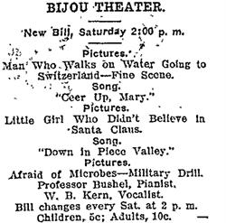 Advertisement for the Bijou Theater. - , Utah