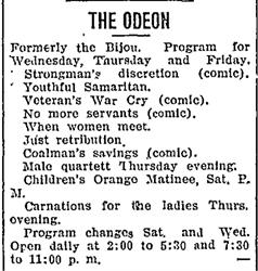 Advertisement for the Odeon, formerly the Bijou. - , Utah