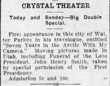 Advertisement for the Crystal Theater. - , Utah