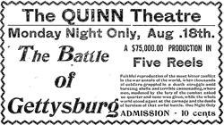 A newspaper ad for 'The Battle of Gettysburg' at the Quinn Theatre in 1913. - , Utah