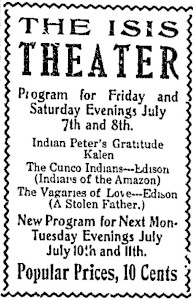Advertisement for the Isis Theater in 1911.