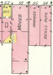 A movie theater at 58 West 100 North on the Sanborn Fire Insurance map for 1930. - , Utah