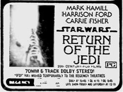 'Return of the Jedi' in 70mm 6 Track Dolby Stereo at the Regency Theatre.  The film was moved over temporarily from the Centre Theatre due to flooding in downtown Salt Lake City. - , Utah