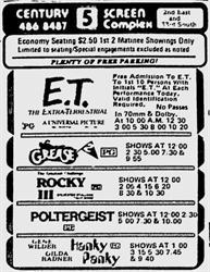 'E. T.: The Extra-Terrestrial' at the Century 5 Screen Complex. - , Utah