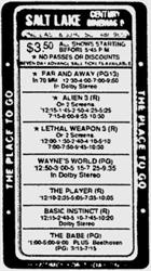 Newspaper ad for the Salt Lake Century Cinemas 9, with 'Far and Away' showing in 70mm Dolby Stereo. - , Utah