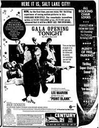 'Gala Opening Tonight' ad for the Century 21, with 'All Rocking Chair Loges,' 'Perfect View From Any Seat,' 'Thrilling Super-Stereo Sound,' and a 'Giant Tru-Image Screen.' - , Utah