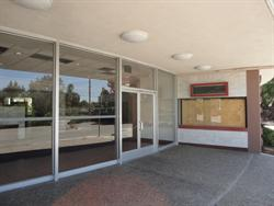 The covered entrance of the Century 23 in San Jose is almost identical to the Century buildings in Salt Lake. The box office was at the right end, with glass windows and entrance doors along the curve of the building. - , Utah