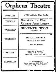 Newspaper ad for the Orpheus Theatre. - , Utah