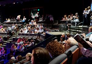 Looking across the auditorium. Ushers stand at each entrance to help showgoers find their seats. - , Utah