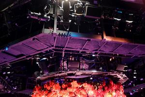 Above the stage is a catwalk with lights, speakers, and, for a production of <em>Beauty and the Beast</em>, hundreds of red roses. - , Utah
