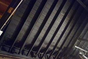 Looking up at the exposed rafters of the peaked roof. - , Utah