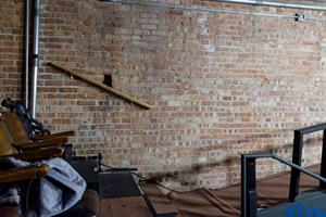Exposed brick on the east wall of the auditorium. - , Utah