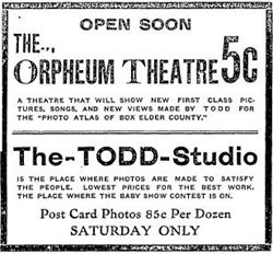 Newspaper advertisement for the Orpheum Theatre in 1910. - , Utah