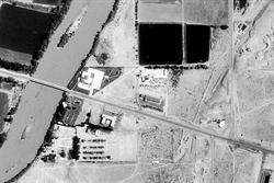 An aerial view showing the location of the River Vu Drive-In next to the Green River - , Utah