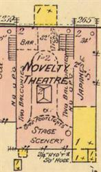 On the 1890 Sanborn map, the Novelty Theatre had a ticket office, two balconies, gas footlights and a stage with scenery. - , Utah