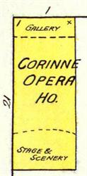 The Corrine Opera House on a 1890 fire insurance map.  - , Utah