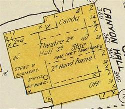 Canyon Hall on a 1913 Sanborn fire insurance map. - , Utah