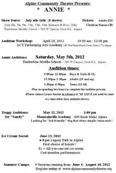 """A flyer for an ice cream social in June 2012 and """"Annie"""" at the Timberline Middle School in July 2012 . - , Utah"""