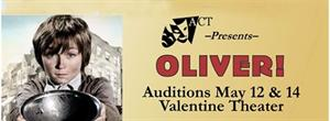 Banner for Oliver! auditions at the Valentine Theater on May 12 & 14. - , Utah