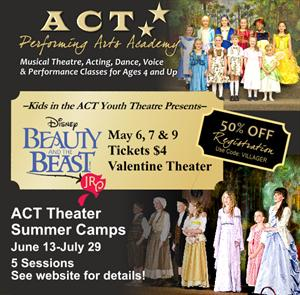 Advertisement for <em>Disney's Beauty and the Beast Jr.</em> at the Valentine Theater. - , Utah