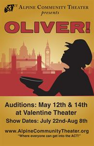 Poster for <em>Oliver!</em> auditions at the Valentine Theater in May and show dates in July. - , Utah
