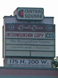 The Carmike Cinemas logo on the shopping center's sign. - , Utah
