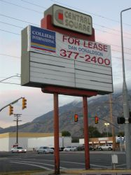 A 'For Lease' banner covers the name of the theater on the sign. - , Utah
