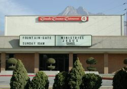 Still bearing the 'Carmike Cinemas Cottonwood 4' sign, the theater is now the Fountain-Gate Ministries. - , Utah