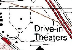The twin-screen Davis Drive-In on a 1988 geological survey map. - , Utah