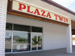 The Plaza Twin sign above the theater entrance. - , Utah