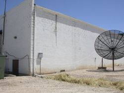 The back side of the Plaza Twin Theatres building.  On the left is the exit from one of the two auditoriums. - , Utah