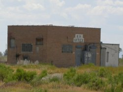 The former projection building of Desert Drive-In, from the northeast.  The screen was located off to the left. - , Utah
