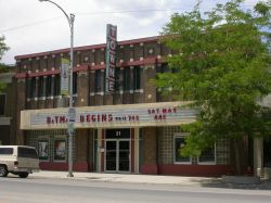 The Towne Theatre has a long attraction board that stretches the length of the building's front.  There are two poster cases on either side of the entrance. - , Utah