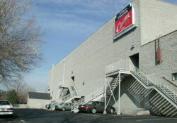 The west side of the theater.  The stairs are exits for the auditoriums and lobby. - , Utah
