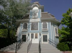 The front of the Lagoon Opera House has stairs leading up to a double-door entrance. - , Utah