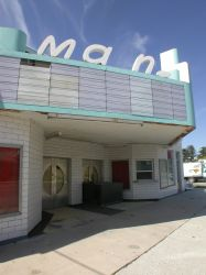 The name 'Main' on the left side of the Main Theatre's marquee is missing the letter 'i'.   - , Utah